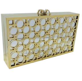 Charlotte Olympia Gold Metal Clutch Bag