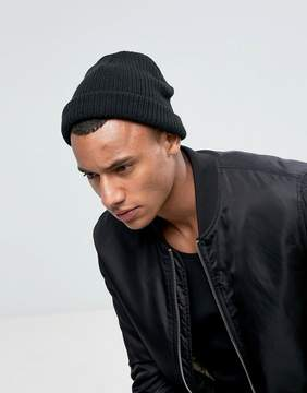 New Look Ribbed Beanie In Black