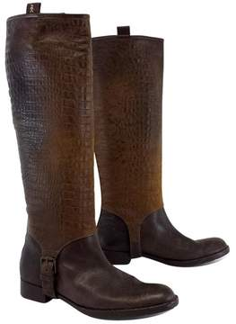 Henry Beguelin Tall Brown Snakeskin Leather Boots