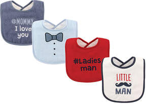 Luvable Friends Black & White 'Little Man' Bib Set