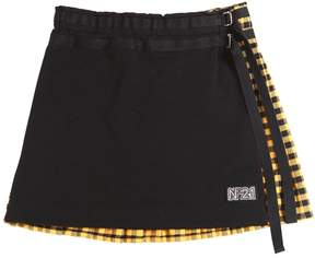 N°21 Cotton Skirt W/ Flannel Back Panel