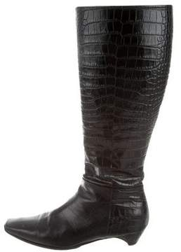 Christian Dior Crocodile Knee-High Boots