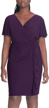 Chaps Plus Size Ruffle Faux-Wrap Dress
