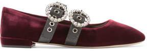 Miu Miu Crystal-embellished Leather-trimmed Velvet Ballet Flats - Burgundy