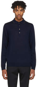 Paul Smith Navy Long Sleeve Merino Polo