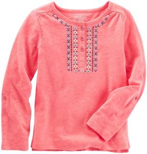 Osh Kosh Girls 4-8 Embroidered Slubbed Henley