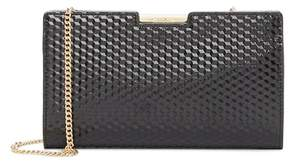 Milly Geo Debossed Leather Frame Clutch