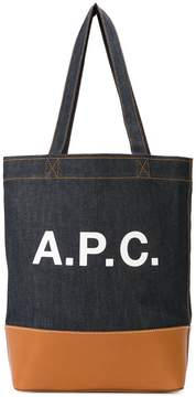 A.P.C. logo denim tote bag