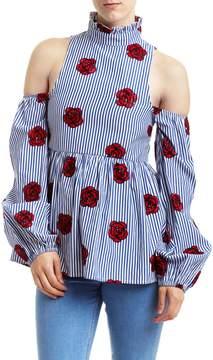 Romeo & Juliet Couture Floral Cold Shoulder Mock Neck Blouse