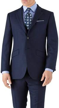 Charles Tyrwhitt Royal Blue Slim Fit Flannel Business Suit Wool Jacket Size 38