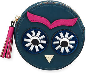 Neiman Marcus Owl Face Round Faux-Leather Coin Purse