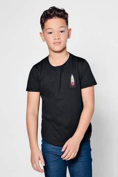 boohoo Boys Rocket Embroidered T-Shirt