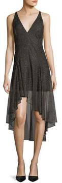 Halston Sleeveless V-Neck Metallic Lace Cocktail Dress