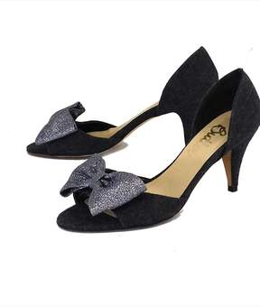 Butter Shoes Gray & Silver Glitter Bow Heels