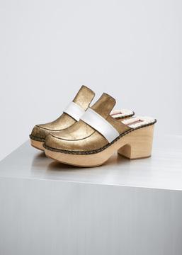 Rachel Comey Gold Foil Leather Beau Clog