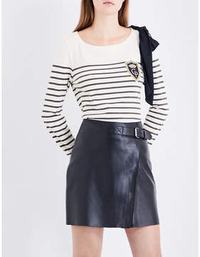Claudie Pierlot Breton-stripe cotton-blend top
