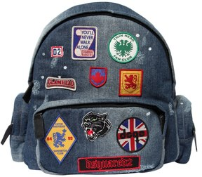 DSQUARED2 Patches Faded Cotton Denim Backpacks