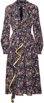 ADAM by Adam Lippes Metallic Floral-print Silk-georgette Midi Dress - Navy