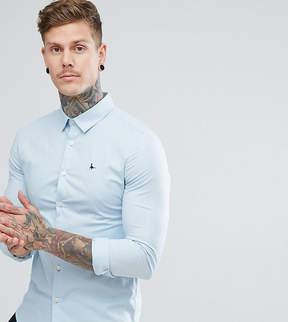 Jack Wills Hinton Skinny Poplin Stretch Fit Shirt in Light Blue