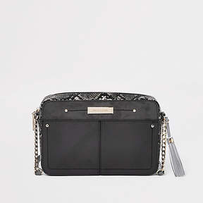 River Island Grey snake skin boxy cross body bag