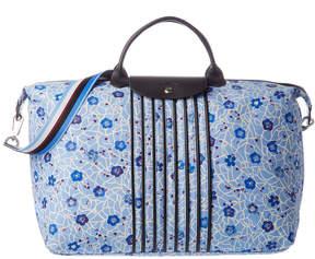 Longchamp Le Pliage Fleuri Large Nylon Travel Bag - BLUE - STYLE