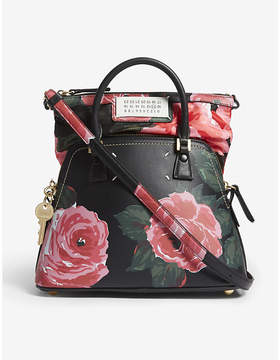 Maison Margiela Floral-print small leather tote