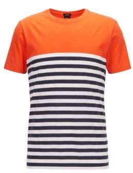 BOSS Hugo Stripe Colorblock T-Shirt Tessler S Orange