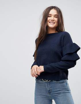 Brave Soul Erin Frill Sleeve Sweater In Chenille