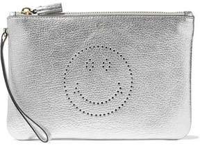 Anya Hindmarch Perforated Metallic Textured-Leather Pouch