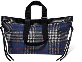 Isabel Marant Wardy Patent Leather-trimmed Tartan Coated-canvas Tote - Navy