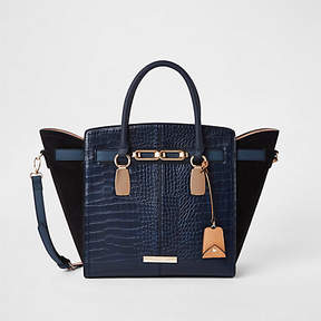 River Island Navy croc embossed winged tote bag