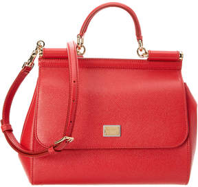 Dolce & Gabbana Sicily Medium Dauphine Leather Satchel - RED - STYLE