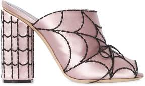 Marco De Vincenzo 100mm Spider Web Satin Sandals