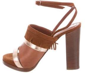 Jean-Michel Cazabat Fringe-Trimmed Ankle Strap Sandals w/ Tags
