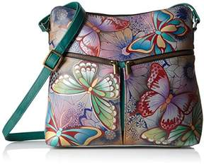 Anuschka Anna by Women's Genuine Leather Large Hobo Handbag | Zip-Top Multi-Compartment Tall Organizer | Butterfly Paradise