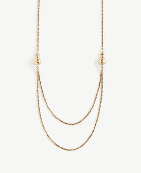 Ann Taylor Double Strand Station Necklace