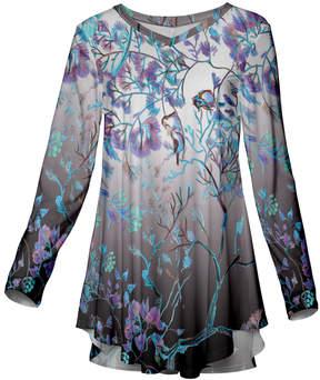 Azalea Gray & Blue Nature Long-Sleeve Tunic - Women & Plus