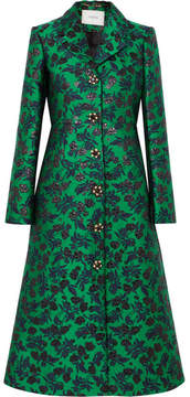 Erdem Dominique Embellished Floral-jacquard Coat - Green