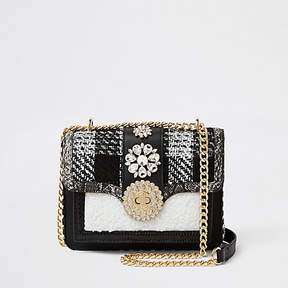 River Island Black and white embellished cross body bag