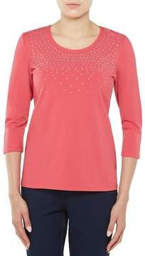 Allison Daley Petites 3/4 Sleeve Embellished Knit Top