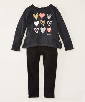 DKNY Dark Gray Heather Heart Layout Tunic & Jeggings - Toddler & Girls