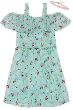 Speechless Short Sleeve Cold Shoulder Sleeve Floral A-Line Dress - Big Kid Girls