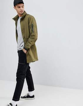 Penfield Pancho Long Nylon Concealed Hood Parka Jacket in Green