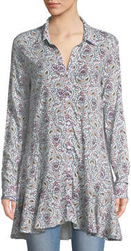Chelsea & Theodore Long-Sleeve Paisley Button-Front Peplum Tunic