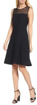 Eliza J Women's Illusion Yoke Fit & Flare Dress