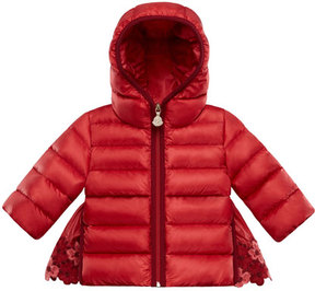 Moncler Saule Floral-Embroidered Hooded Puffer Coat, Size 12M-3T