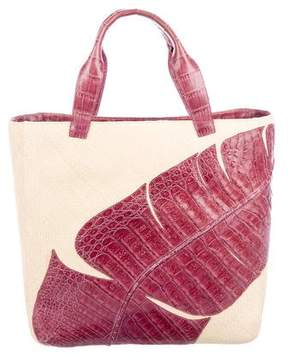 Nancy Gonzalez Crocodile-Trimmed Raffia Tote