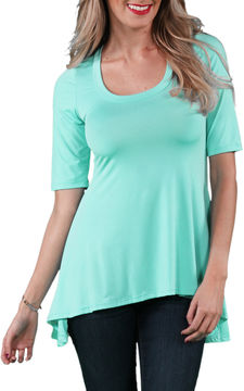 24/7 Comfort Apparel High-Low Elbow Length Tunic Top