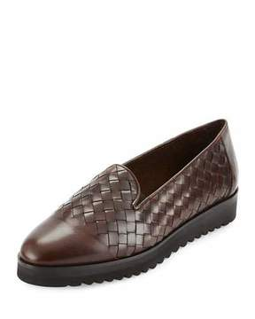 Sesto Meucci Naia Woven Leather Loafer, Dark Tan