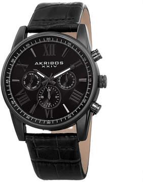Akribos XXIV Mens Black Strap Watch-A-911bk